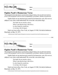 Every Day Edit - Ogden Nash's Humorous Verse Worksheet