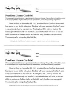 Every Day Edit - President James Garfield Lesson Plan