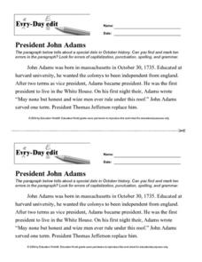 Every Day Edit - President John Adams Worksheet