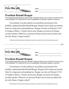Every Day Edit - President Ronald Reagan Worksheet