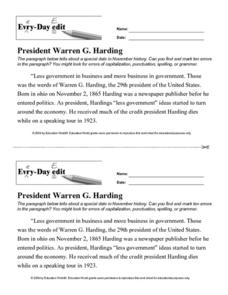 Every Day Edit - President Warren G. Harding Lesson Plan