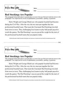 "Every-Day Edit: ""Red Stockings Are Popular"" Lesson Plan"