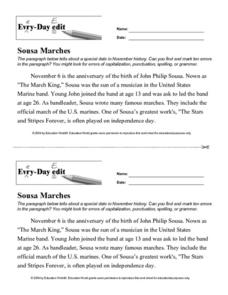 Every Day Edit - Sousa Marches Worksheet