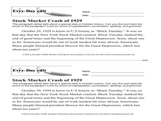 Every Day Edit - Stock Market Crash 1929 Worksheet