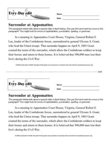 Every Day Edit - Surrender at Appomattox Worksheet
