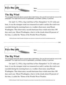 Every Day Edit - The Big Wind Worksheet