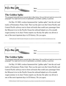 Every Day Edit - The Golden Spike Worksheet