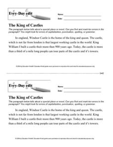 "Every-Day Edit: ""The King of Castles"" Lesson Plan"