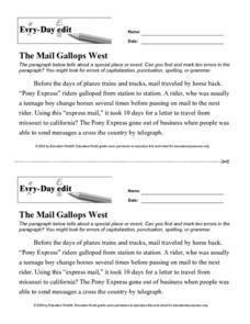 "Every-Day Edit: ""The Mail Gallops West"" Lesson Plan"