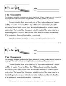 Every Day Edit - The Rhinoceros Worksheet