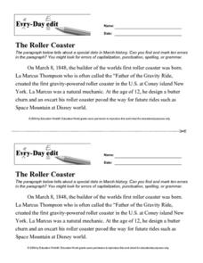 Every Day Edit - The Roller Coaster Worksheet
