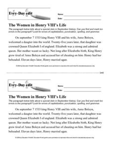 Every Day Edit - The Women in Henry VIII's Life Worksheet