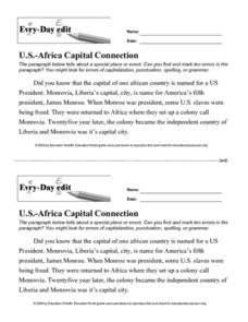 "Every-Day Edit: ""U.S.-Africa Capital Connection"" Worksheet"