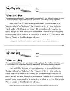 Every Day Edit - Valentine's Day Worksheet