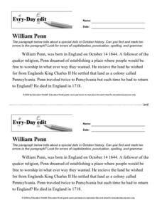 Every Day Edit - William Penn Worksheet