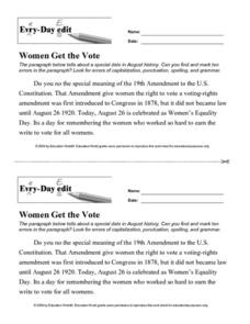 Every Day Edit - Women Get the Vote Worksheet