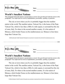 "Every-Day Edit: ""World's Smallest Nations"" Lesson Plan"