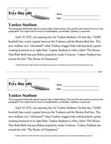 Every Day Edit - Yankee Stadium Lesson Plan