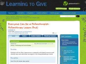 Everyone Can Be a Philanthropist Lesson Plan