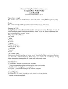 Everyone Can Write Poetry Lesson Plan