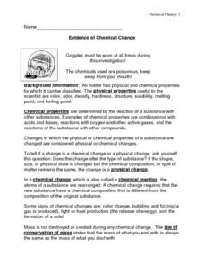 Evidence of Chemical Change Lesson Plan