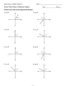 Exact Trig Values of Special Angles Worksheet