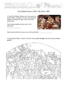 Examining Artwork by Ford Madox Brown (1821-'93) Work 1863 Worksheet