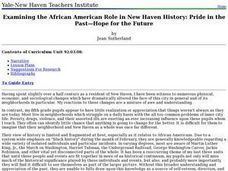 Examining the African American Role in New Haven History: Pride in the Past? Hope for the Future Lesson Plan