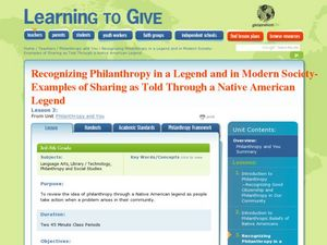 Examples of Sharing as Told Through a Native American Legend Lesson Plan
