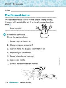 Exclamations Worksheet