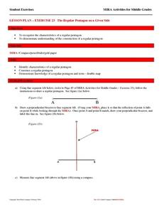 Exercise 23--the Regular Pentagon on a Given Side Lesson Plan