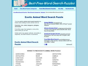 Exotic Animal Word Search Puzzle Worksheet