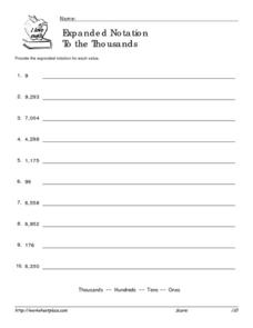 Expanded Notation to the Thousands Worksheet