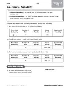 Experimental Probability homework 19.3 Worksheet