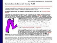 Exploration in Economic Supply Part I Lesson Plan