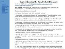 Explorations for the Area Probability Applet Lesson Plan