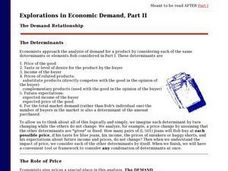 Explorations in Economic Demand: The Demand Relationship Part II Lesson Plan