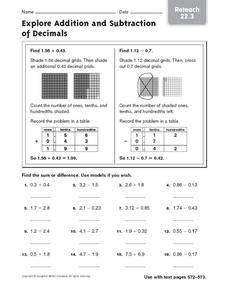 Explore Addition and Subtraction of Decimals: Reteach Worksheet
