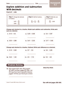 Explore Addition and Subtraction With Decimals: Homework Worksheet