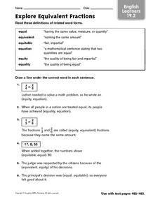 Explore Equivalent Fractions - English Learners 19.2 Worksheet