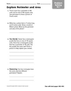 Explore Perimeter and Area - Problem Solving 18.1 Worksheet