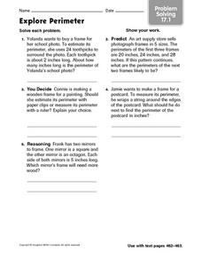 Explore Perimeter: Problem Solving Worksheet