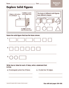 Explore Solid Figure: Reteach Worksheet