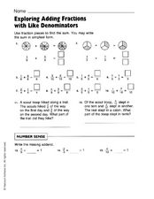 Exploring Adding Fractions with Like Denominators Worksheet