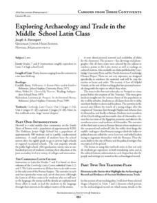 Exploring Archaeology and Trade in the Middle School Latin Class Lesson Plan