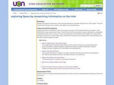 Exploring Space By Researching Information on the Internet Lesson Plan