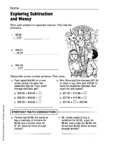 Exploring Subtraction and Money Worksheet