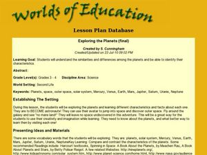 Exploring the Planets Lesson Plan