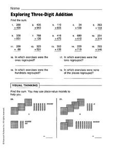 Exploring Three-Digit Addition Worksheet