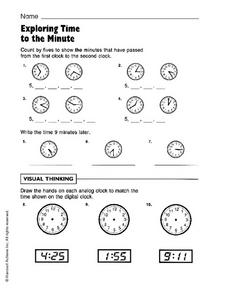 Exploring Time to the Minute Worksheet